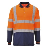 Polo de travail bicolore manches longues orange / marine PORTWEST